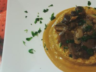 risotto ai funghi mantecato con crema di porcini e zucca