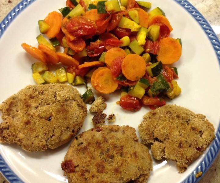 Burger di tonno con contorno di verdure